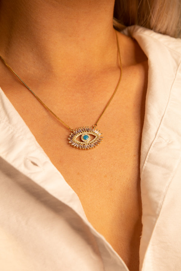 women's eye necklace, gold necklace