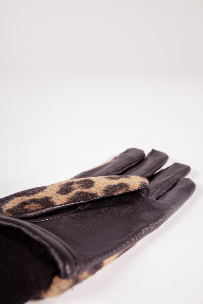 Lena Leopard Printed Brown Gloves