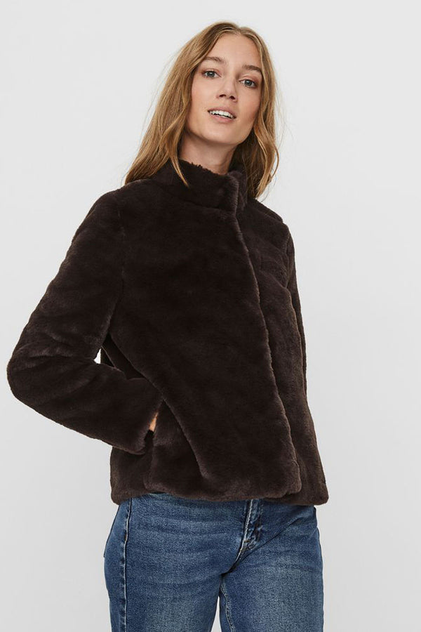 women's faux fur jacket in brown