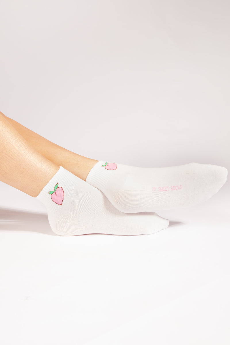 Debbie Peach Sock In White