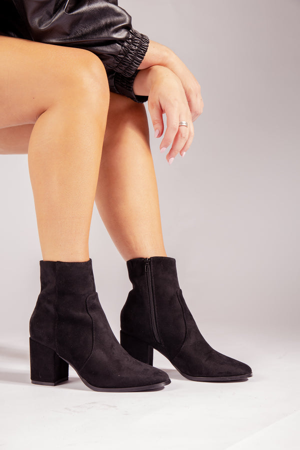 Rea Faux Suede Boot In Black