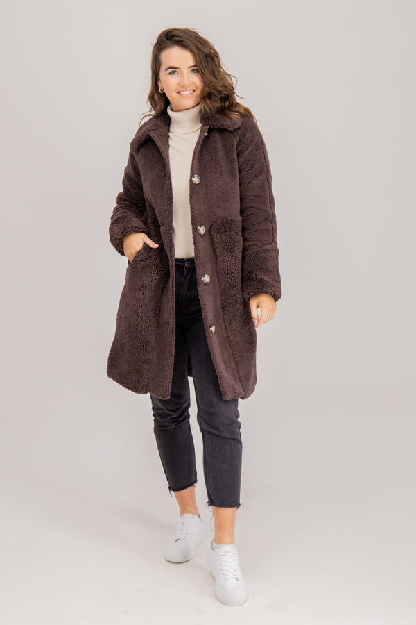 Ripley Faux Fur Jacket In Chocolate Brown
