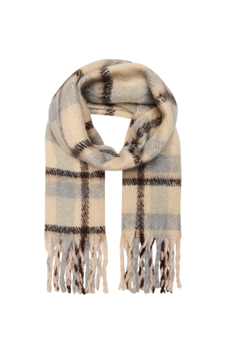Jessica Check Printed Scarf In Beige
