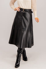 Lee Faux Leather Midi Skirt In Black