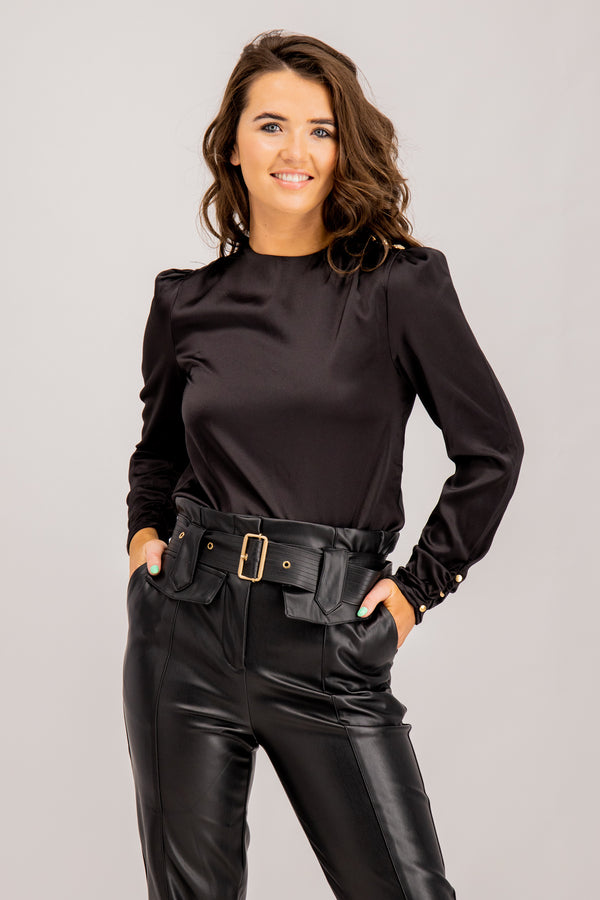 Rochelle Black High Waisted Belted Pants
