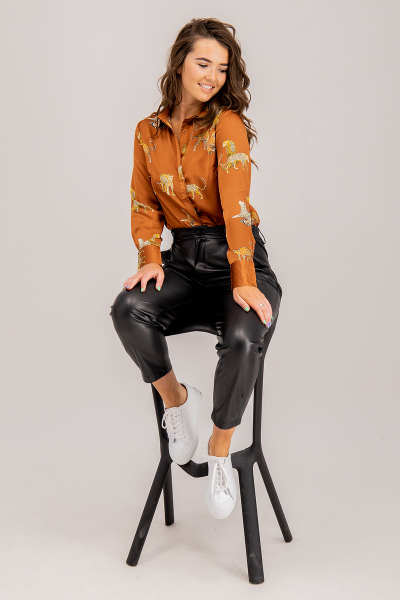 Simone Black Faux Leather Pants