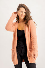 Feami Open Knit Cardigan In Pink