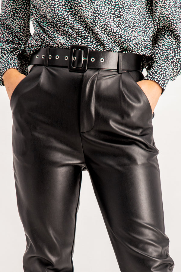 Megan Faux Leather Belted Pants