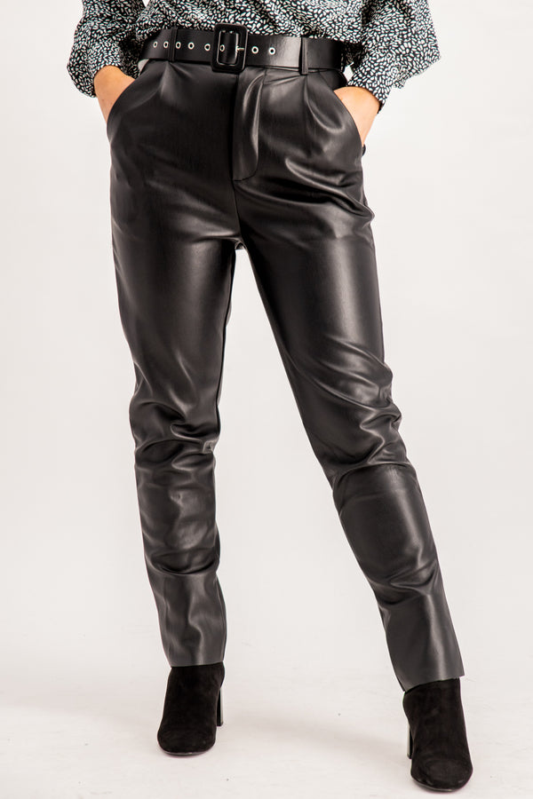 women's faux leather black belted pants