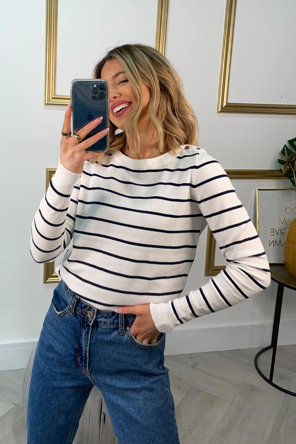 Alma White & Navy Striped Knit