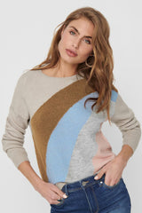 womens striped knit in beige