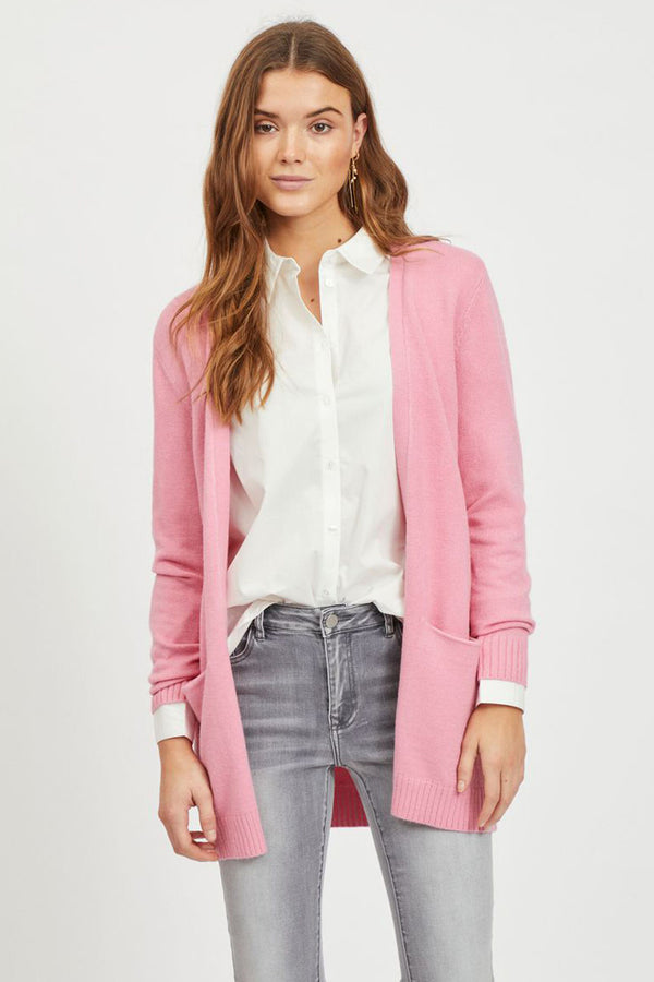 pink open knitted cardigan