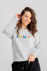 Bailey Butterfly Printed Sweatshirt In Grey