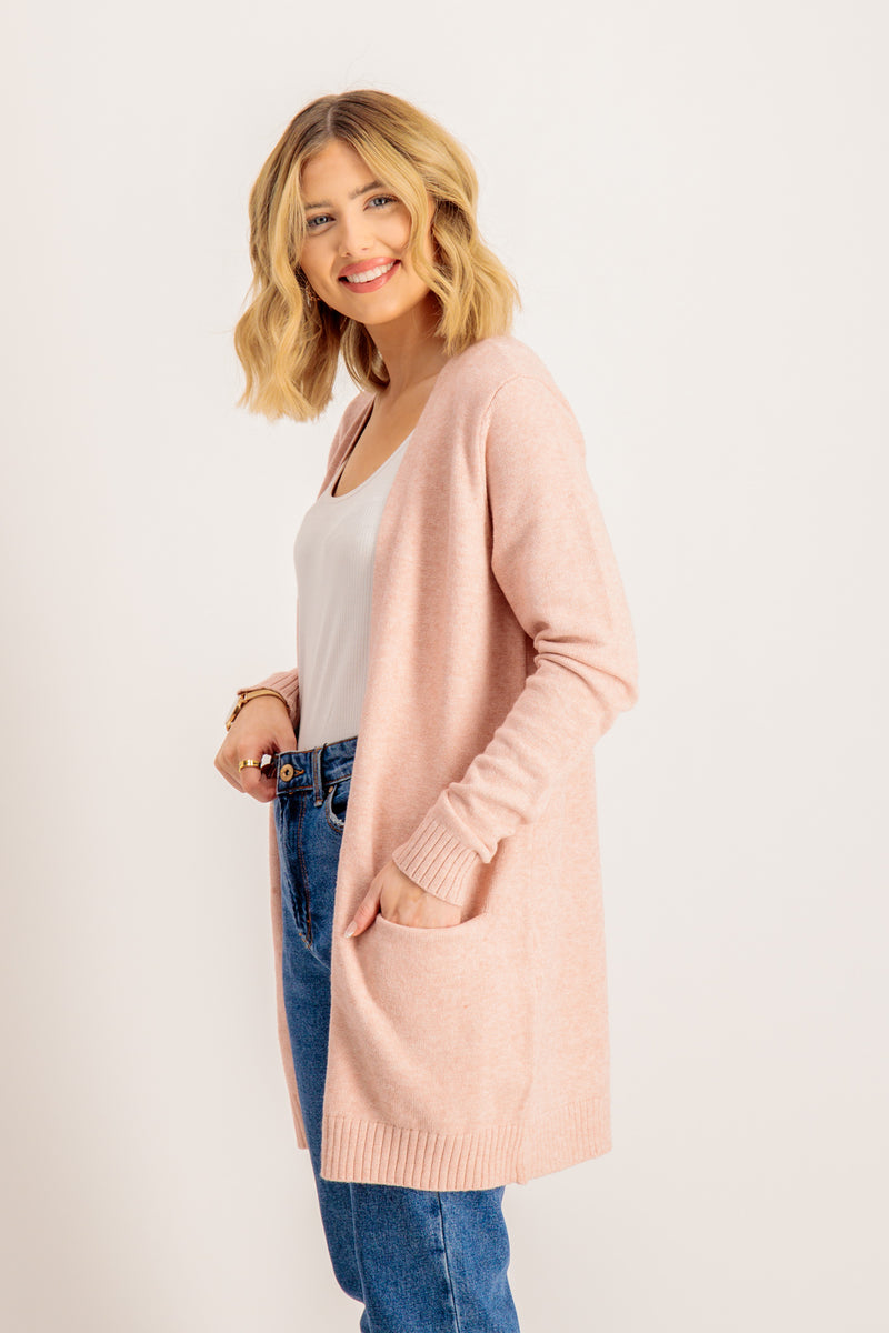 Viril Open Long Sleeve Cardigan in Misty Rose