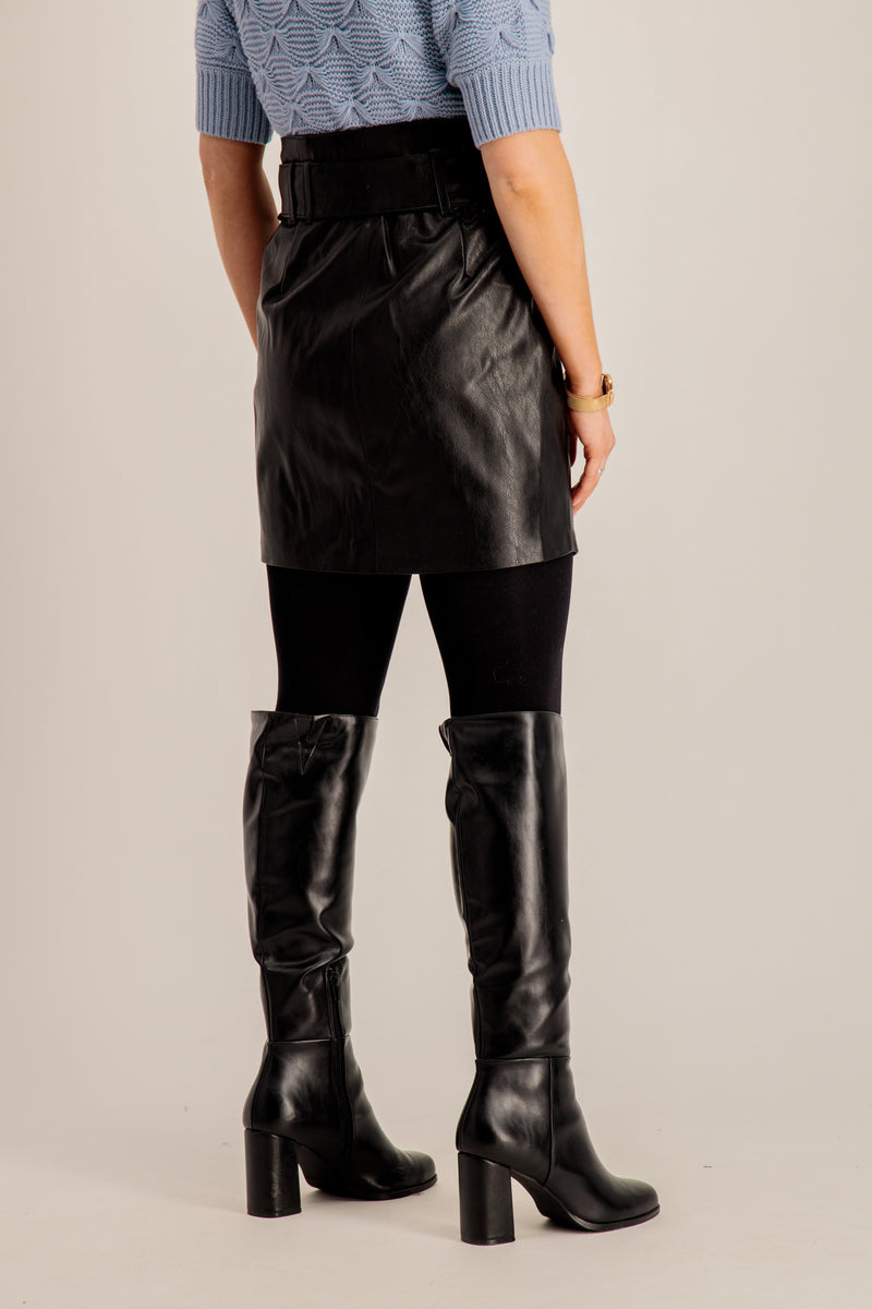Peggy Black Faux Leather Skirt