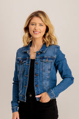 Faith Short Denim Jacket In Dark Blue