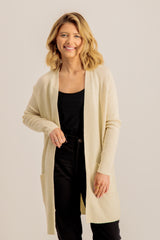 Latia Open Knitted Cardigan In Cream