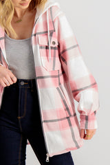 Sadie Hooded Shacket In Pink