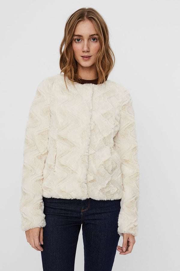 Curl Faux Fur Jacket In Cream