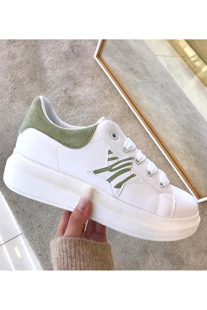Eve Green Printed Star White Trainers