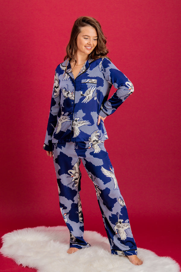 Mia PJ Set in Crane Print