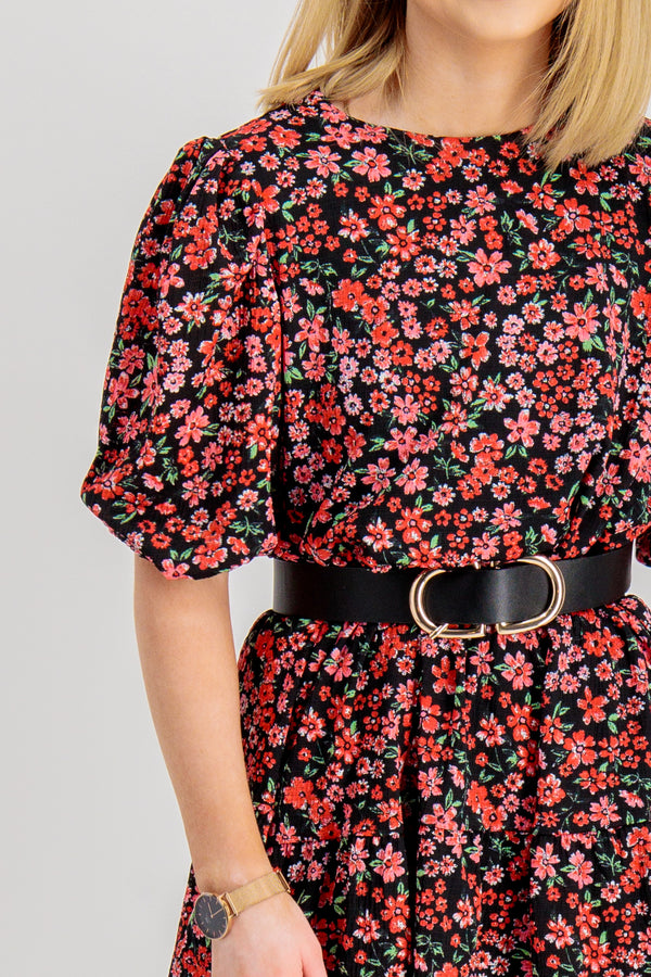 Pella Peplum Pink Floral Dress