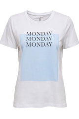 Monday slogan printed tee in white