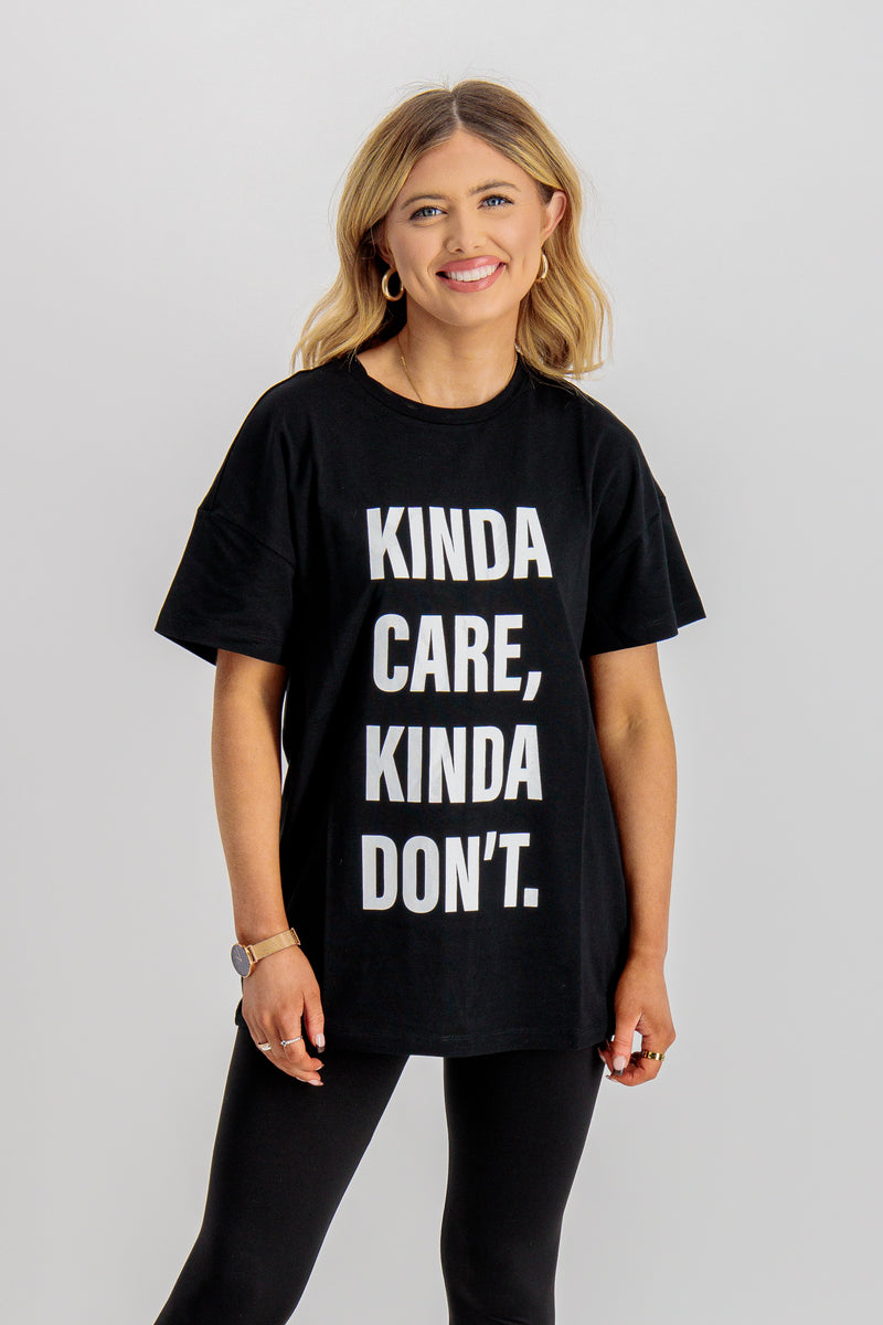 black printed slogan tee