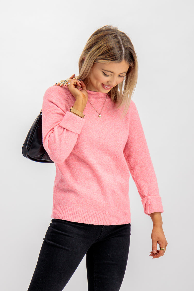 Doffy O Neck Knit In Pink