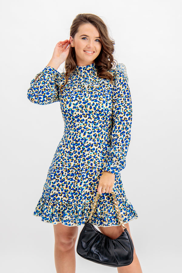 Kayla Blue Leopard Printed Dress