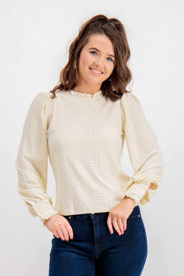 Kathy Cream Embroidered Top