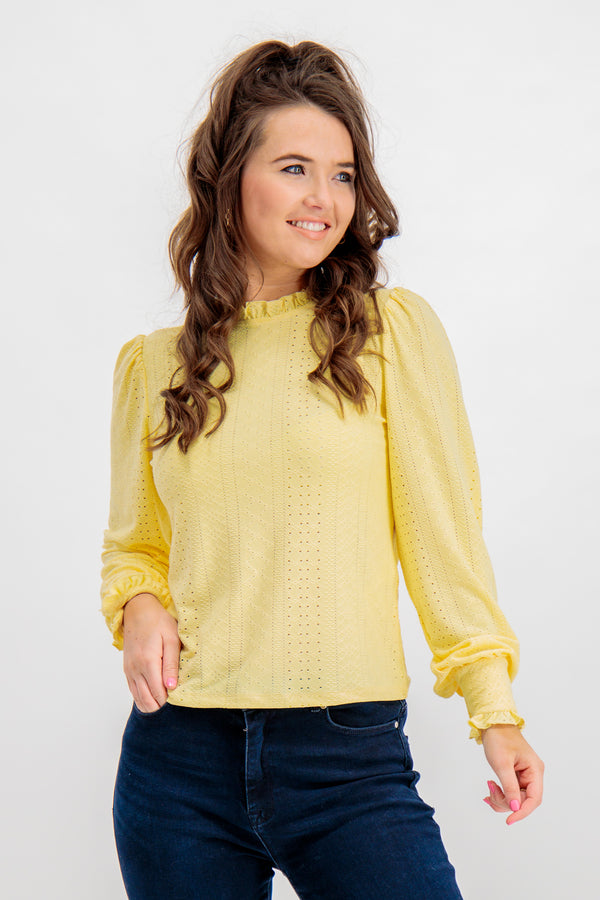 Kathy Yellow Embroidered Top