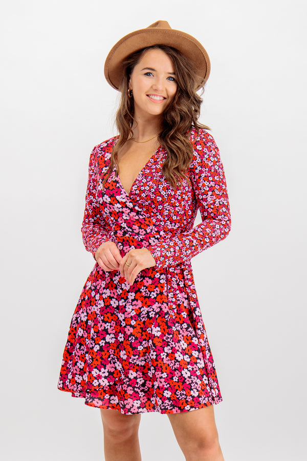 Kelly Pink Floral Wrap Dress