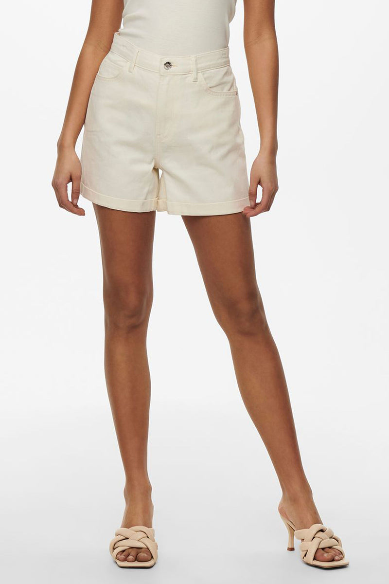 beige denim mom shorts