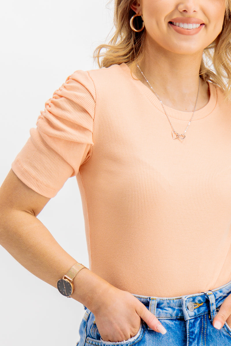 Nelly Puff Shoulder Top In Coral