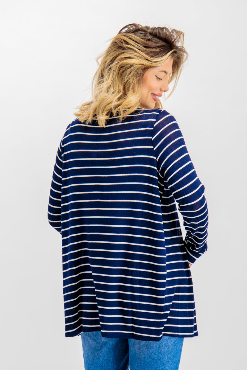Brianna Navy Striped Open Cardigan