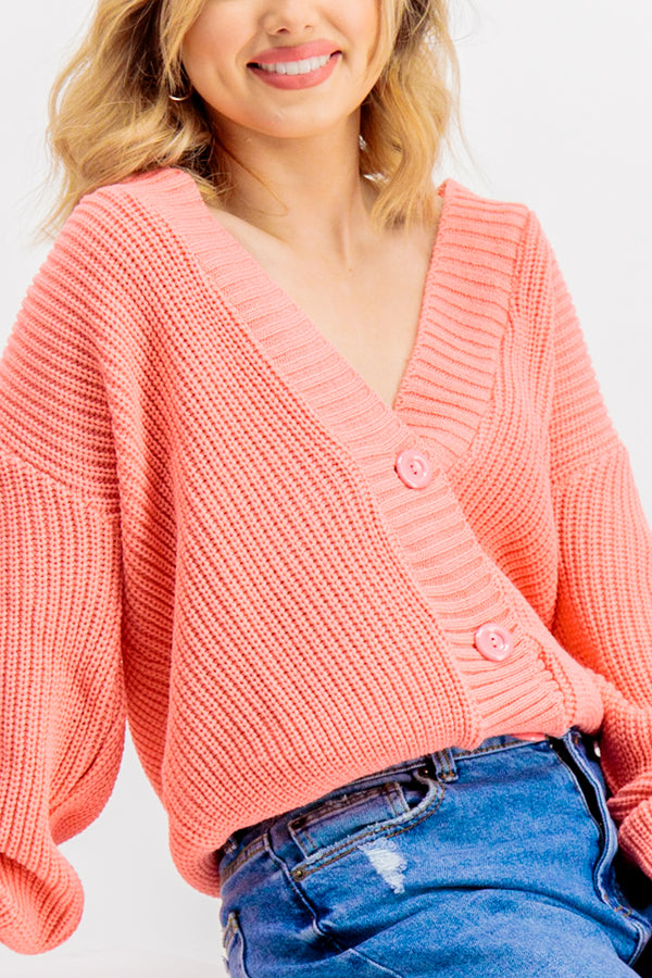 Ivonna Coral Ribbed Cardigan