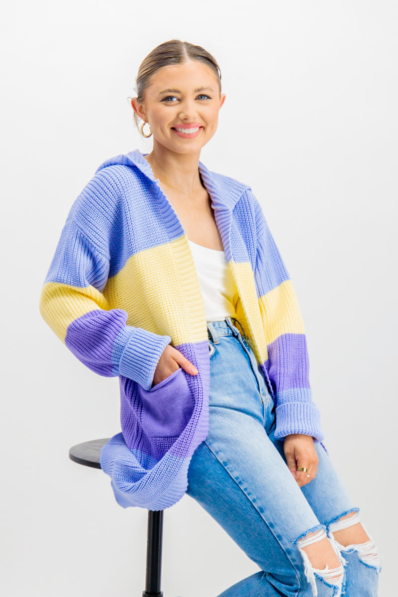 Lacey Blue Striped Cardigan