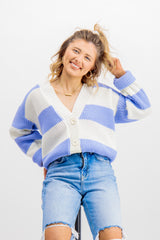 Siena Blue & White Striped Cardigan