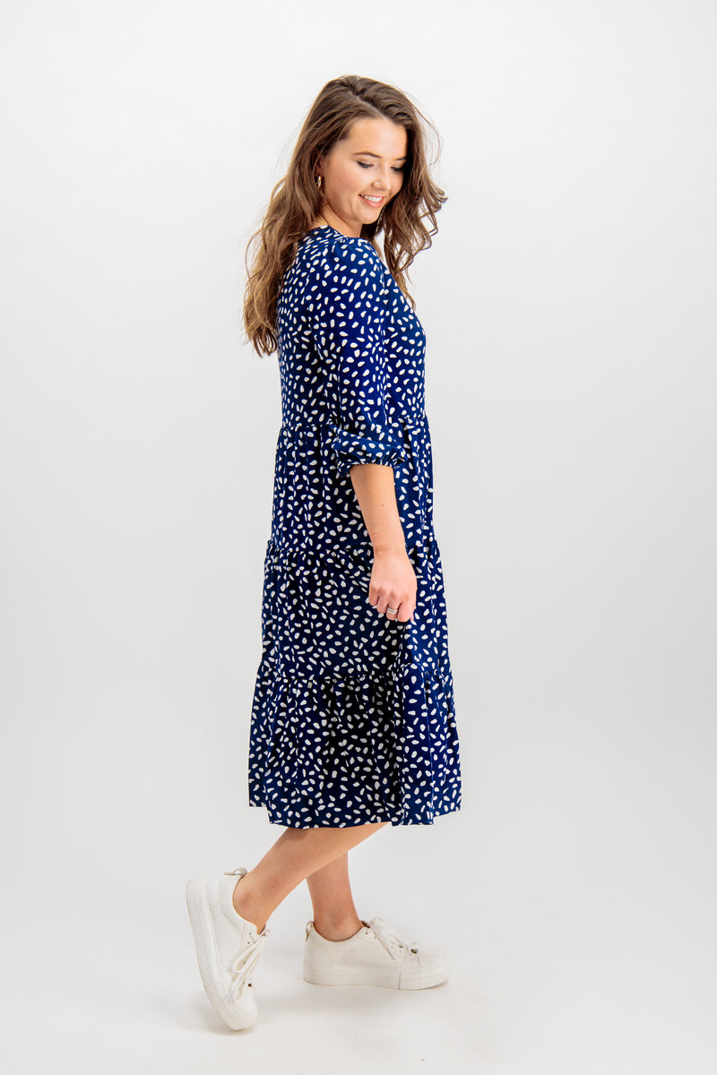 Hazel Navy & White Polka Dot dress