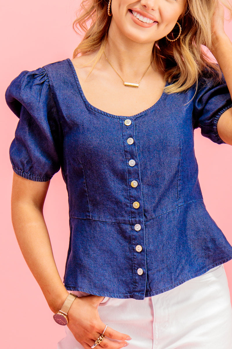 Ulrika Denim Top In Dark Blue