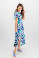 Celine Blue Floral Midi Dress
