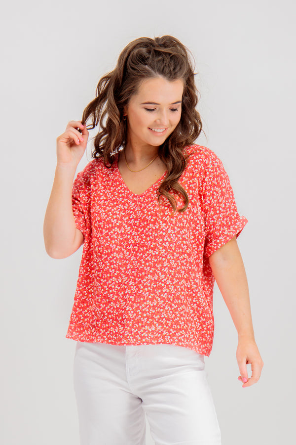Flower Red Floral Top