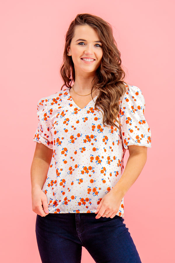 Kaisley White & Red Floral Printed Top
