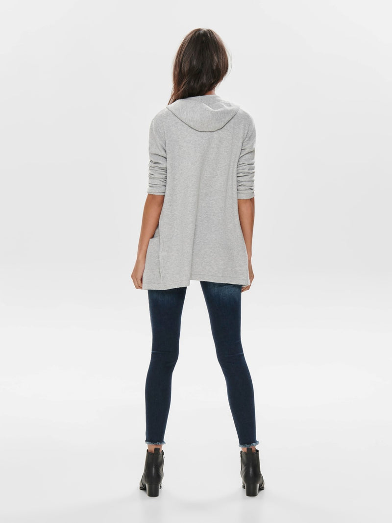Ember Open Knitted Cardigan In Grey