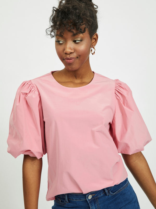 Medusa Puff Sleeve Top In Pink