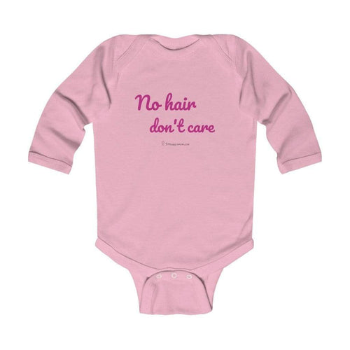 Printify Kids clothes Pink / 12M No Hair don't Care Long Sleeve Bodysuit