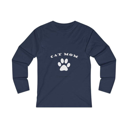 Printify Long-sleeve L / Navy Cat Mom Long Sleeve Tee