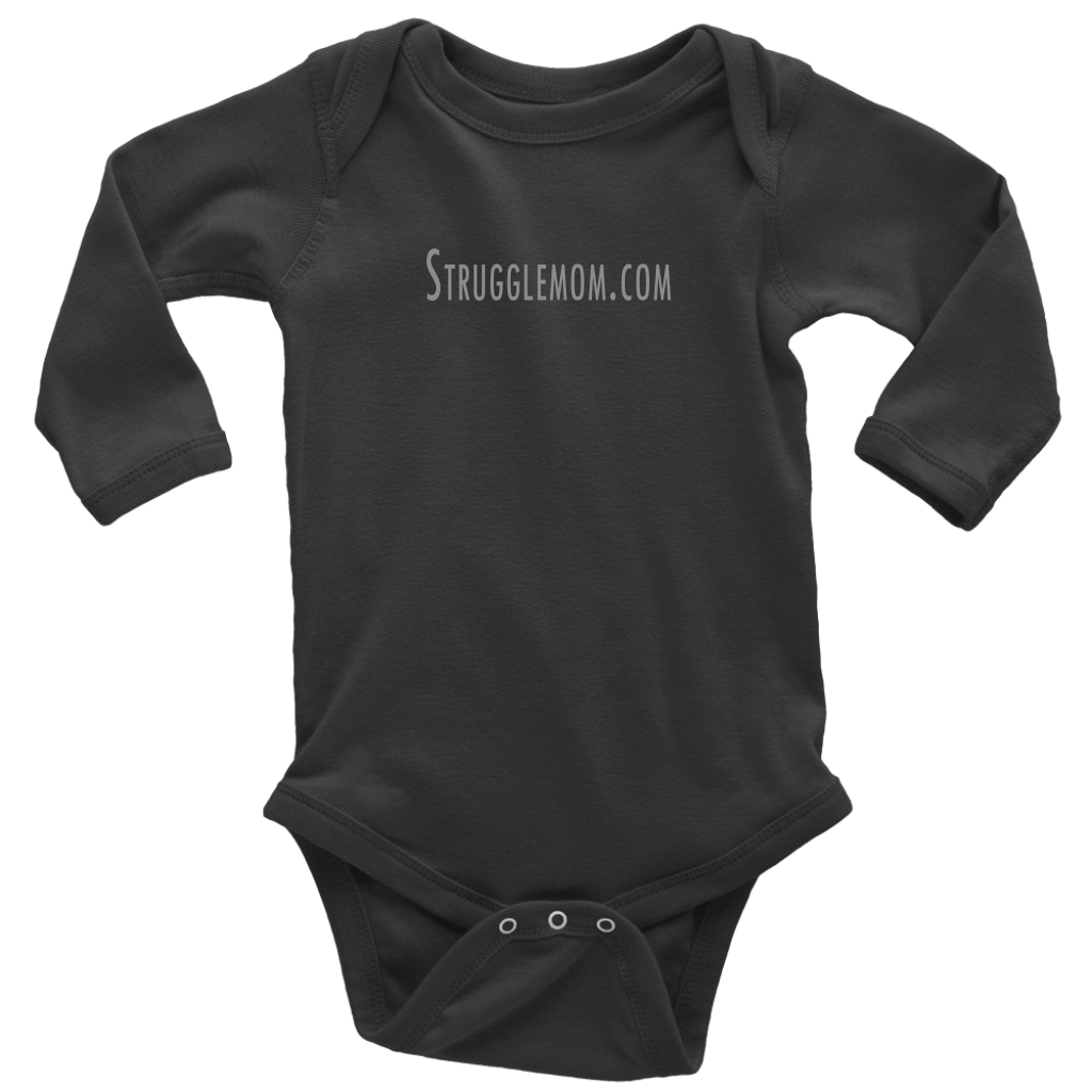 teelaunch T-shirt Long Sleeve Baby Bodysuit / Black / NB Strugglemom.com Onesie