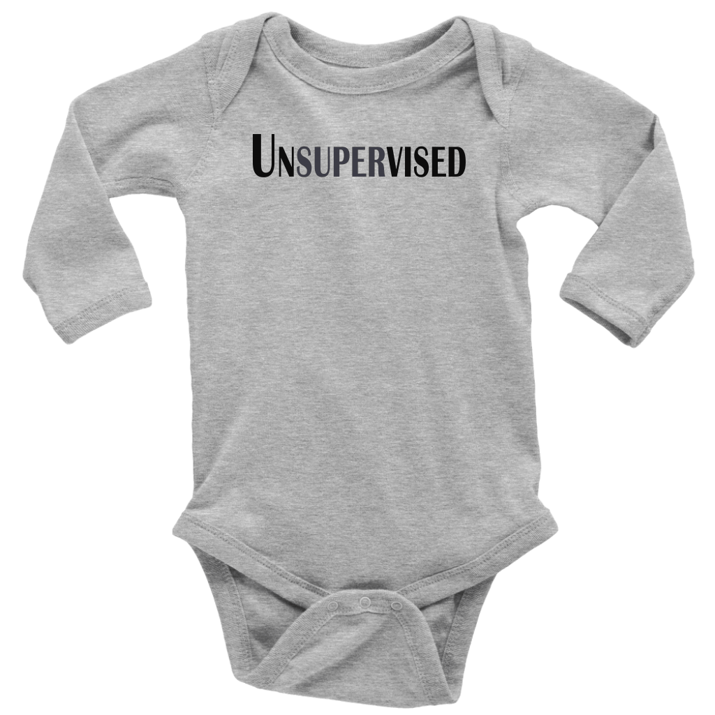 teelaunch T-shirt Long Sleeve Baby Bodysuit / Heather Grey / NB Unsupervised